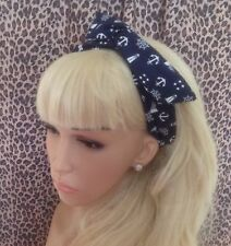 NAUTICAL NAVY SAILOR COTTON BENDY WIRE WIRED HAIR HEAD BAND 50s VINTAGE STYLE