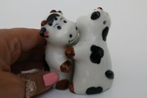 Cute Black and White Ceramic Hugging Cows Novelty Salt and Pepper Shakers