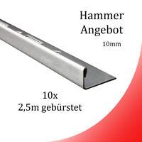 10x L-Profil Edelstahlschiene Fliesenschiene Fliesenprofil L250cm 10mm gebürstet