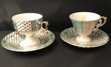 Two Vintage Daintly Fine China Tea Cups with Cut Out Saucers