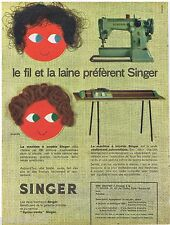PUBLICITE ADVERTISING 115  1960  SINGER  machine à coudre & tricoter  J. FORTIN