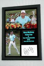 """Rory McIlroy FedEx ganador de la Copa 2016 A3 """"Gran Regalo Enmarcado Firmado a Mano AFTAL cert. de autenticidad"""