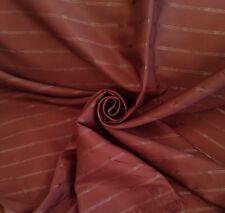 10 Metres Horizontal Threaded Stripe Faux Silk Curtain Fabric In Chocolate