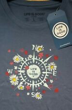 Womens Life is Good Ss Crusher T-Shirt Beauty In All Directions Flowers Nwt Lg