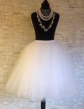White Tulle Net Vintage Midi Jupe Mariage Bal Mariée Enterrement Petti Ballerine