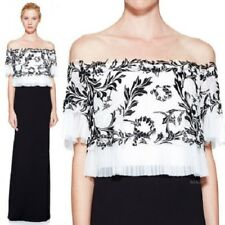 NEW TADASHI SHOJI Black White Ruffle Off Shoulder Embroidered Lace Lina Gown 14
