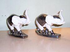 "Precious Hand Painted Porcelain Pair Of Elephants Figurine 6"" Tall x 8"" Long"
