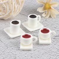 4Pcs 1/12 Miniature Dollhouse Coffee Cup+Coffee Saucer Dollhouse Tableware  Nd