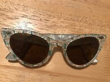 Vintage Cat Eye Pearlescent frames with gold and green threads, Tinted, 1950's