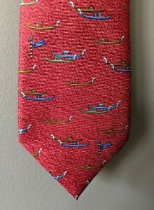 BVLGARI 100% Silk Davide Pizzigoni Printed Boats Neck Tie, Red, Italy, $240