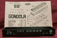 ERIE LACKAWANA GONDOLA - ERIE 15487 - ATHEARN HO SCALE - ORIGINAL BOX