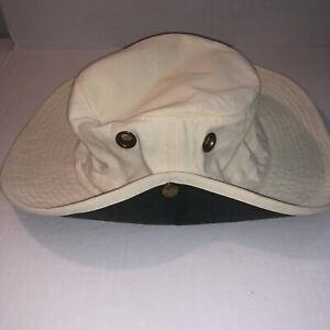 Tilley Endurables Hat Size 7 5/8 Khaki W/ Green Under Brim 100% Cotton