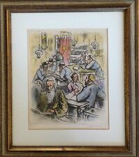 "Ira Moskowitz Poland 1912 Signed 54/100 Original Colored Etching:""In the Jeshiva"