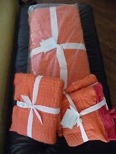 NWT Pottery Barn Kantha Reversible Quilt Full Queen 2 EURO Shams Pink Orange