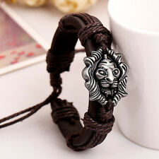 Men Jewelry Braided Dragon Head Wrap Wrist Faux Leather Cuff Bracelet >P