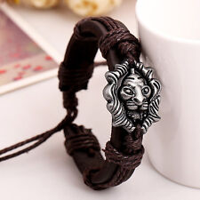 Men Jewelry Braided Dragon Head Wrap Wrist Faux Leather Cuff Bracelet M8Blca