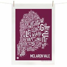McLaren Vale Tea Towel Australian Souvenir 100% Linen Map Gift