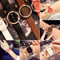 Elegant Women Classic Casual Hollow Quartz Watch Leather Strap Wrist Watches JT