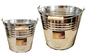 Galvanised Bucket Heavy Duty Strong Metal Bucket Steel Wooden Handle Ash Pan