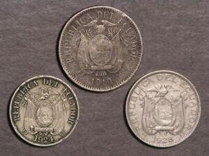 ECUADOR 1919/1924H/1928 10 Centavos -   Lot of 3 Coins