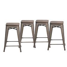 """Set of 4 Metal Bar Stools 24"""", Indoor/Outdoor and Stackable (Bronze, Wood Seat)"""