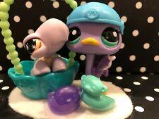 Authentic Littlest Pet Shop # 908 Turtle # 2099 Ostrich Rare Teal/Lilac Pet Set