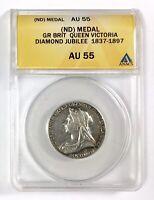 1897 Gr. Britain Queen Victoria Diamond Jubilee Silver (ND) Medal, ANACS AU 55