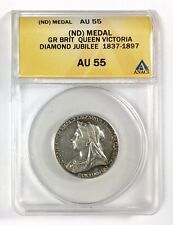 1897 Gr. Britain Queen Victoria Diamond Jubilee Silver (ND) Medal, ANACS AU 55