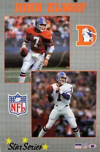 Vintage 1989 JOHN ELWAY 34 x 22 Denver Broncos NFL Starline Star Series Poster