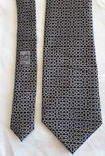 HERMES Black / Grey Gray GEOMETRIC chain Silk Tie made in France 5886