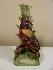 """Vintage ~ PAINTED BUNTING Lionstone Porcelain 1974 Mini Decanter Height 6"""""""