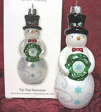 HALLMARK 2010 GLASS ORNAMENT~TIP-TOP SNOWMAN