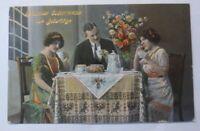 Geburtstag, Männer, Frauen, Kaffee, Kuchen,  1914, Golddruck ♥