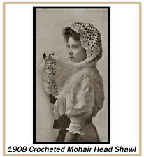 1908 Vintage Crochet Pattern for a  Mohair Head Shawl