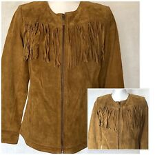 Denim & Co.Women's Suede Jacket Fringe Size-XSM Western Biker Equestrian Cowboy
