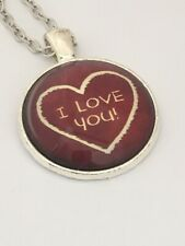 I LOVE YOU  Glass dome red heart NECKLACE vintage style  UK seller  F5