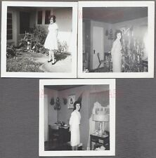 Lot of 3 Vintage Snapshot Photos Pretty Girl w/ Christmas Tree at Home 706714