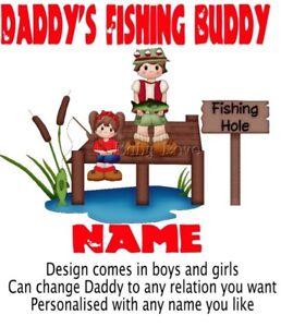 IRON ON TRANSFER PERSONALISED DADDYS FISHING BUDDY GIRL