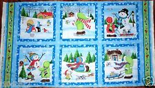 CHRISTMAS FABRIC PANEL SNOW BABIES 6 QUILTING SQUARES BTP SSI NEW SNOMWNAN