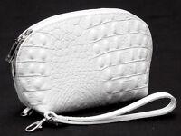 Leder Etui Geldbörse Kosmetiktasche XL 20cm weiß Kroko NEU Made in Italy