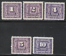Canada Postage Dues, Second Series, Scott J6-J10, mostly VF MH, catalogue - $180