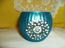 BLUE CRYSTAL STARBURST MEDALLION ON MERCURY GLASS STYLE VOTIVE CANDLE HOLDER