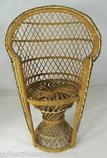 "Tall Peacock Rattan Doll Chair 16"" Natural Patio Decor Dolls Teddy Bears Plants"