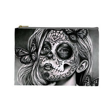 Cosmetic Bag Small Clutch Makeup Case Day of the Dead Sugar Skull Girl Butterfly
