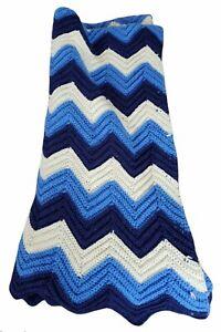 "Vintage Handmade Chevron Afghan Blanket Throw 69""x59"" Crochet Blue Multi-Color"