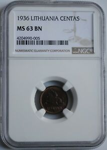 """Lithuania 1 centas 1936, NGC MS63 BN, """"First Republic (1925 - 1938)"""""""