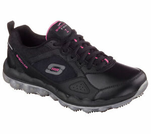 76572 Skechers Women's SKECH-AIR Slip Resistant Work BKPK  Black/Pink