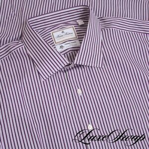 NWT BIG GUYS Brooks Brothers Luxury Coll. White Purple Stripe Madison Shirt 19