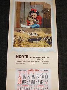 "VINTAGE 1947 LARGE 33 1/2"" X 16"" HOY'S PLUMBING SUPPLY ALBANY NY  CALENDAR"