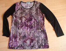 Schickes Stretch-Shirt,langarm v.Pfeffinger,Gr.40/42,schwarz/lila,Neu